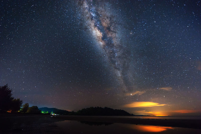starry night sky with milky way Galaxy for background. Astronomy Beauty In Nature Constellation Galaxy Milky Way Mountain Nature Night No People Outdoors Scenics Sky Space Space Exploration Star - Space Starry Sunset Tranquil Scene Tranquility Water