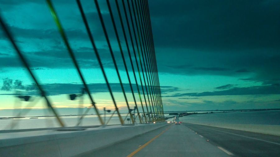 St Petersburg FL .. turquoise skies on the Sunshine Skyway Bridge Turquoise Skies Awesome Sunset Sunset_collection Check This Out Sunset Photography Bridges And Water Bridges St Petersburg Florida Life Travelphotography Travel Sunset_captures Gulf Coast Lifeatitsbest Saltlife Bridge View