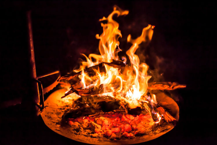 Close-Up Of Fire In Pit At Night