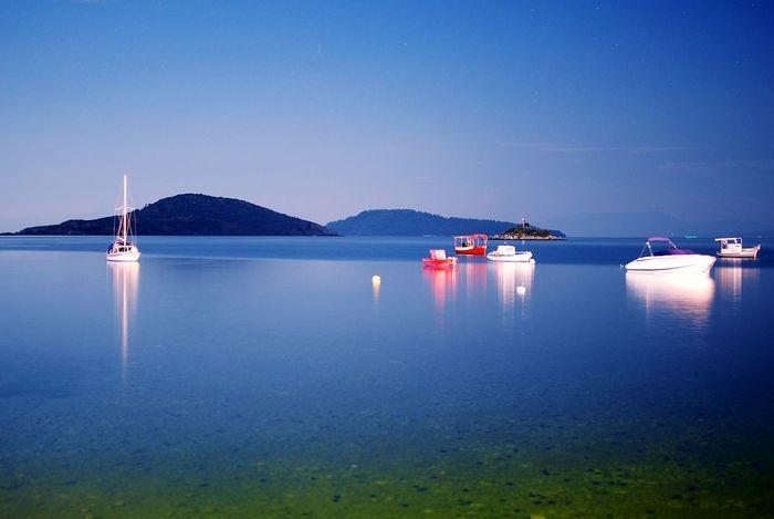 Seaside Seascape Nightphotography Sea At Night Night Lights Boats Skiathos
