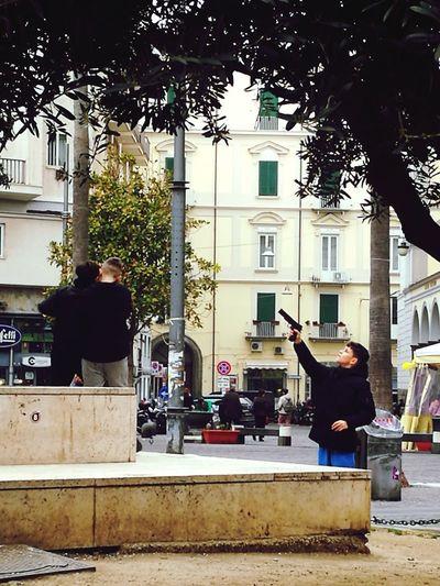 Napoli Europe City Napoli Italy Gun Kids Playing Real People Streetphotography Mobilephotography