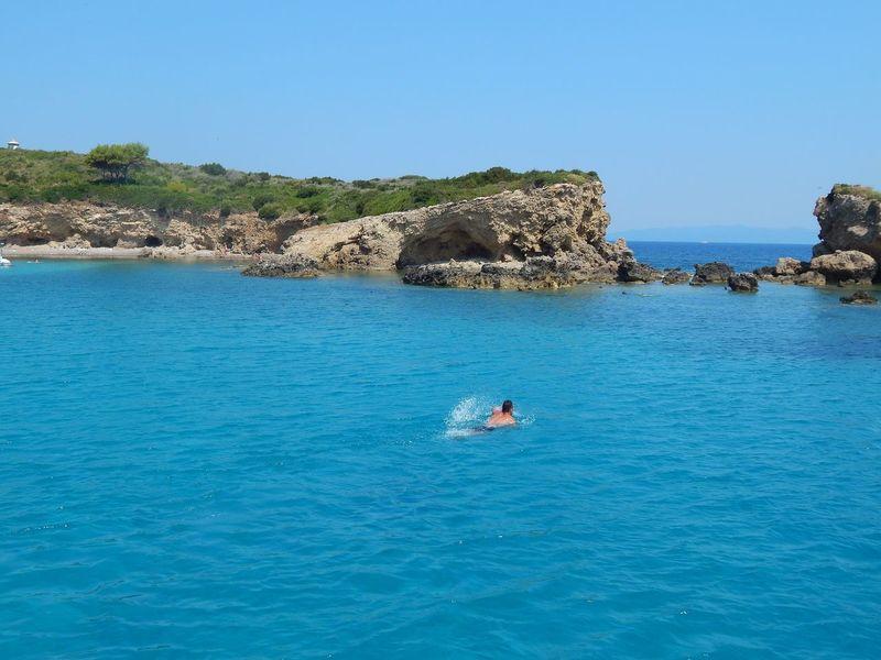 Greece Ioniansea Island Lefkada Meganisi Rock - Object Sea Swimm Turquoise Water