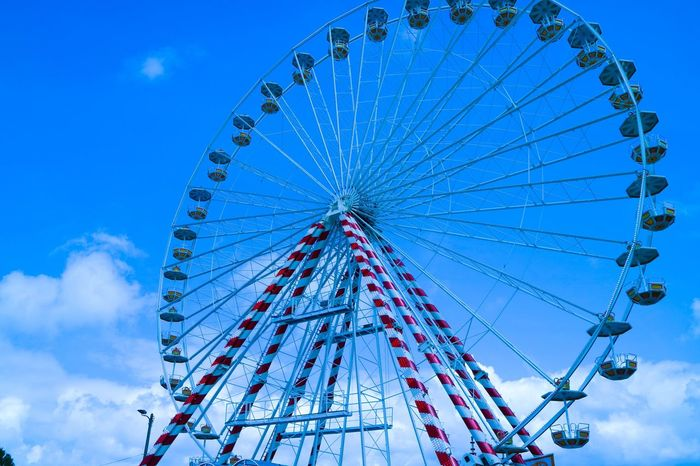 Circuit Low Angle View Sky Ferris Wheel Blue Day No People Outdoors Amusement Park Arts Culture And Entertainment Architecture