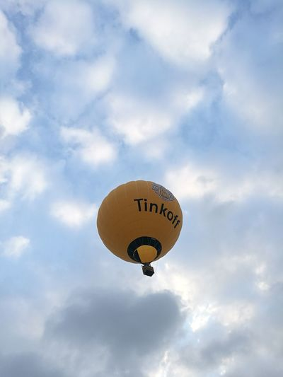 Tinkoff AirBalloon Aerostat Aerostatic Ballon Peace And Quiet Peaceful Sky And Clouds Airballon Cloud - Sky Sky Communication Nature Balloon Flying No People Mid-air Outdoors Day Hot Air Balloon Blue Logo Sign Transportation Helium Balloon Text Sport Air Vehicle Helium