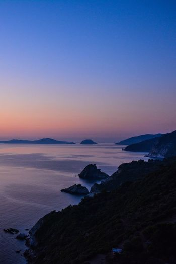 Sea Beauty In Nature Sunset Scenics Nature Blue Tranquil Scene Horizon Over Water Clear Sky No People Tranquility Outdoors Sky Water Landscape Mountain Day