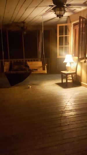 Lighting Equipment Illuminated Night Swing Swings Porch Porch Swing Porchswing Book Coffee Coffee And Cigarettes Cabin In The Woods