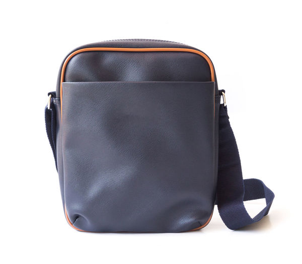 Men bag blue color on white background, fashion and accessoire concept Baghdad Fashion Leather Man Office Shoulder Top View Accessories Bag Briefcase Brown Casual Clothing Design Elegacne Flat Hipster Luggage Male Men Messenger Ravel White Background