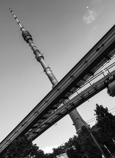 Ostankino Tv-tower and the monorail City Urban X Blackandwhite Russia Moscow TV Tower Ostankino Neweyeemhere Crossroads Cross Monorail  Sky Low Angle View Architecture Built Structure Clear Sky Day No People Metal Outdoors Travel Destinations Building Exterior Tall - High Travel Tower