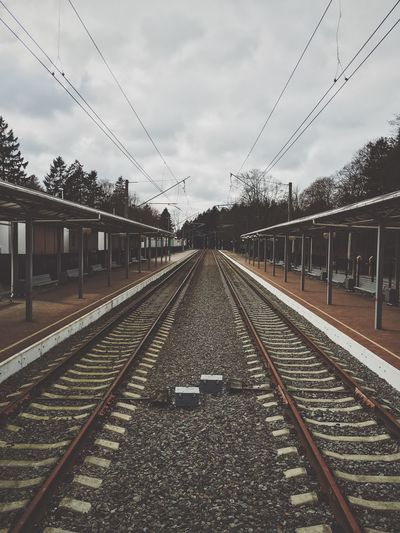 High angle view of railroad tracks at station platform