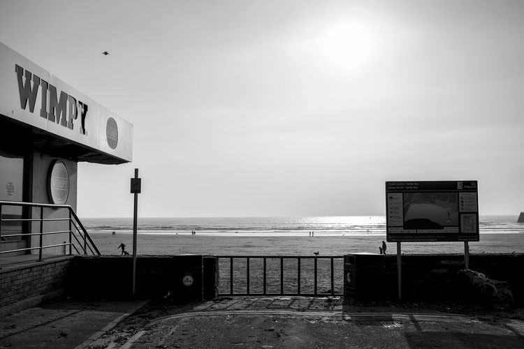 Beach View Architecture Beauty In Nature Black And White Building Exterior Built Structure Day Fast Food Restaurant Horizon Over Water Monochrome Nature No People Outdoors Run Down Scenics Sea Sky Tranquility Water