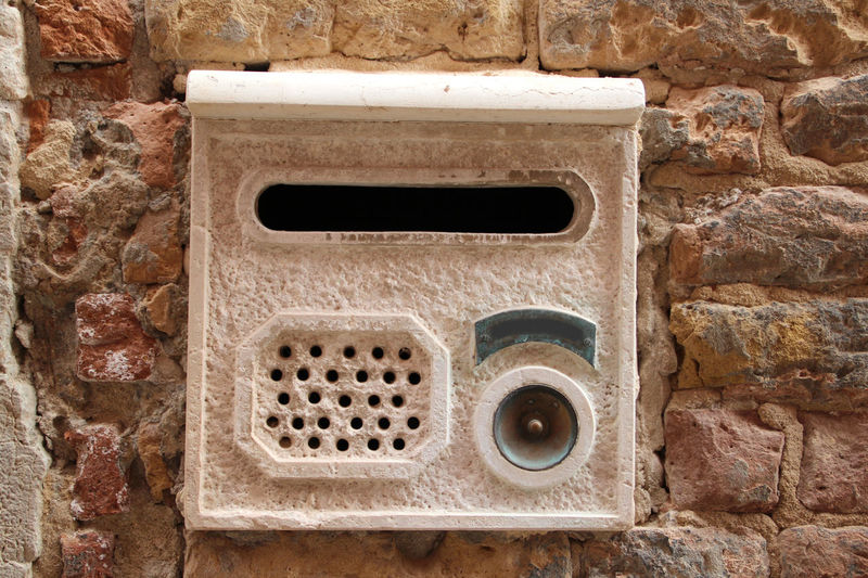 Mailbox with name tag, bell and intercom Architecture Background Backgrounds Brick Brick Wall Brick Wall Briefkasten Built Structure Door Bell Intercom Italy Italy❤️ Mailbox Nameplate Outdoors Stone Stone Wall Stones Türklingel Venedig Venice Venice, Italy