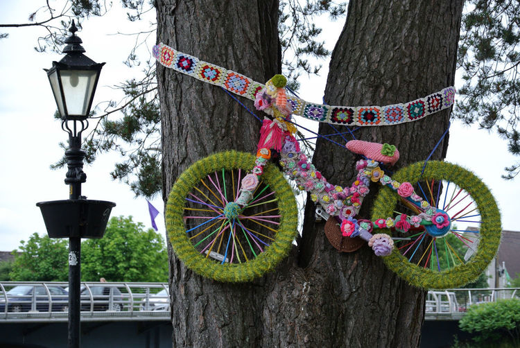 Art And Craft Bicycle Decoration Hanging Outdoors Street Light Tree Tree Trunk