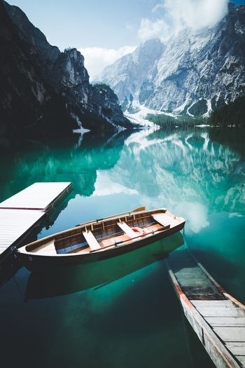 Lago di Braies - South Tyrol Bergsee Boot Boat Moody Dolomites, Italy Lago Di Braies Pragser Wildsee Water Nautical Vessel Nature Beauty In Nature Day Lake Tranquility Mountain Reflection The Great Outdoors - 2018 EyeEm Awards