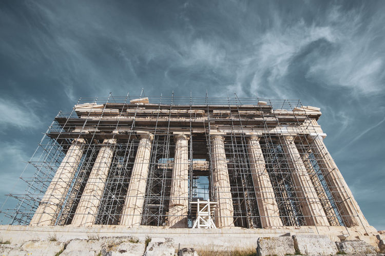 Acropolis Athens Greece Acropolis Built Structure Architecture Low Angle View Sky Building Exterior Cloud - Sky Building Nature No People Day Outdoors History Travel Sunlight Religion Overcast Travel Destinations The Past Spirituality Ruined