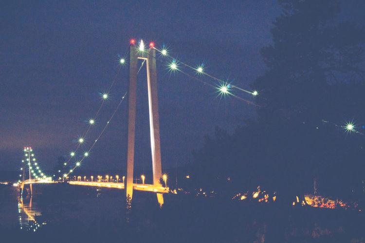 Bridge E4 High Coast Hängbro Härnösand Högakusten Högakustenbron Kramfors Lights Night Night Lights Suspension Bridge Sweden Vedabron Ångermanälven