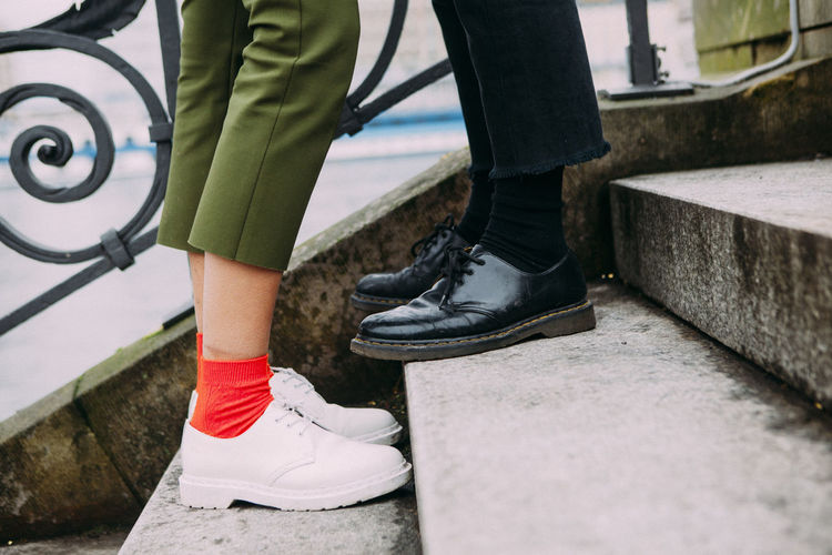 Couple Hipster Hugging Kissing Love Relationship Shoes Stairway Valentine