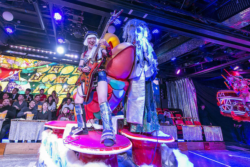 performance at the robot restaurant Adults Only Colorful Colourful Crowd Full Length Guitar Indoors  Indoors  Kabukicho Multi Colored Music Music Neon Lights Night Performance Performing Arts Event Robot Restaurant Shinjuku Smiling Stage - Performance Space Stage Costume Women