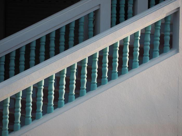 White railing of building