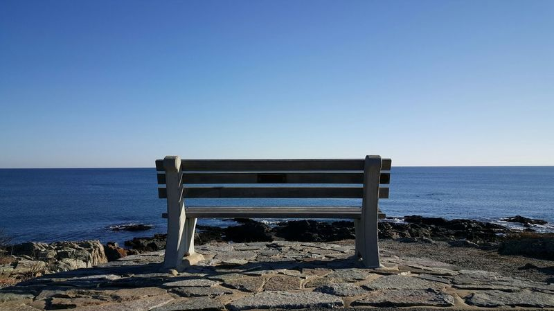 Front row seat. Sea Water Sky Marginal Way Beauty In Nature Horizon Over Water BenchOutdoors Rock - Object No People By The Sea Tranquility Scenics Day Clear Sky Blue Sky EyeEm Best Shots Maine Photography 🌲 Miles Away