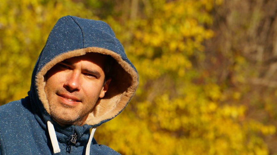 Handsome mad in autumn Autumn Adult Adults Only Autumn Autumn Portrait Close-up Day Focus On Foreground Headshot Leaf Lifestyles Men Nature One Person Outdoors People Portrait Real People Warm Clothing Young Adult The Portraitist - 2018 EyeEm Awards