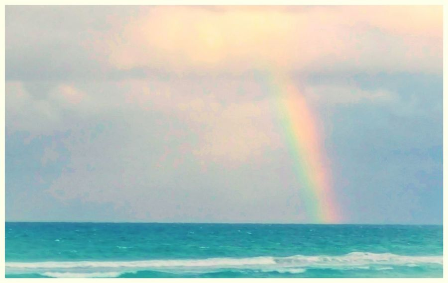 Stay outside in the rain or you might miss rainbows over the ocean. Sea Rainbow In The Ocean Tranquility Day Beauty In Nature Ocean Waves Pastel Colors EyeEm EyeEmNewHere Stayoutsideintherain The Week On EyeEm Been There. Lost In The Landscape