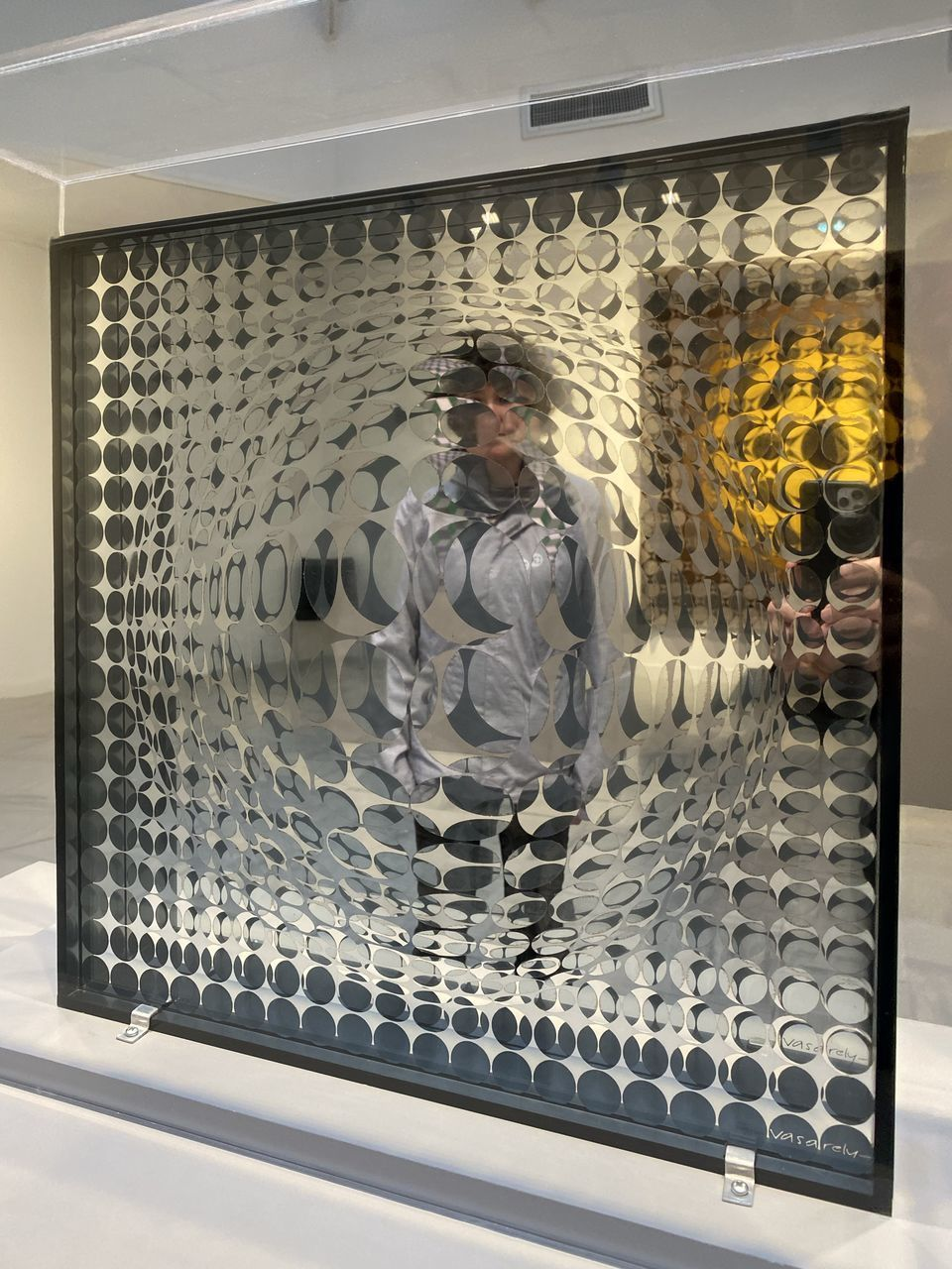 indoors, transparent, technology, window, glass - material, human representation, males, one person, men, security, front view, adult, healthcare and medicine, shape, male likeness, real people, pattern, lifestyles