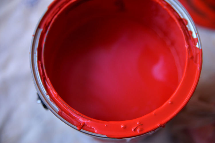 A paint can sits ready to be used by the artist. Art Supply Artistic Expression Close-up Creativity High Angle View Lid No People Paint Paint Can Painting Red Wet Paint