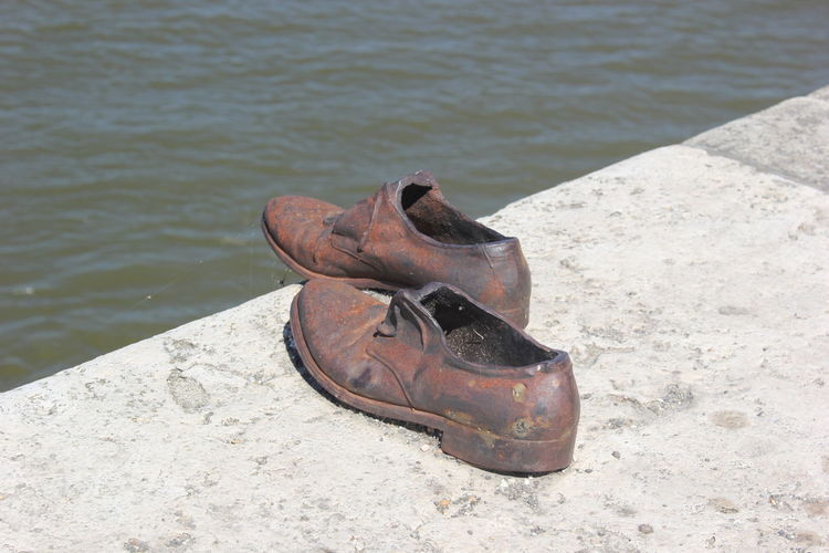 Danube Danube In Budapest Danube River Riverbank Shoes By The River Shoes Memorial Suffering Victims