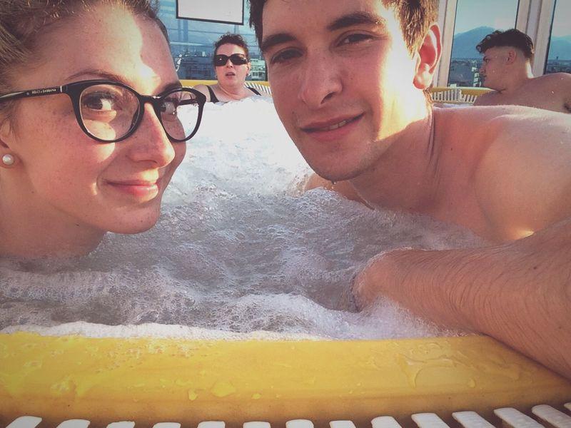 Cruising Traveling Tub Water Bubbles Foam Glasses Relaxing Having Fun