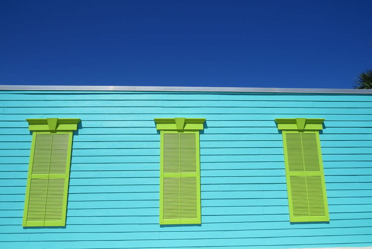 Architecture Blue Clear Sky Day Florida Green Shutters No People Outdoors Sky Turquoise Fresh On Market 2017