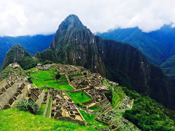 Mountain Old Ruin Ancient History Day Ancient Civilization Nature Outdoors Cloud - Sky No People Sky Scenics Green Color Mountain Range Travel Destinations Architecture Landscape Built Structure Beauty In Nature Tree Ma Machu Picchu