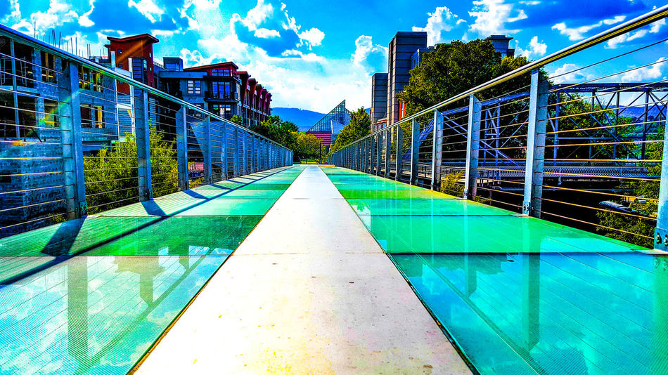 Architecture Sky Built Structure City Building Exterior Outdoors Low Angle View No People Vacations Water Day Swimming Lane Marker Glass - Material Glass Bridge Glass Reflections Chattanooga Tennessee Chattanooga Tennessee EyeEmNewHere Cityscape City Chattanooga's Travel Destinations Urban Skyline Cloudscapes