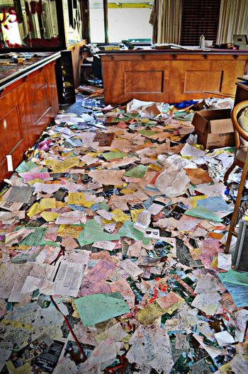 Abandoned Abandoned Places Large Group Of Objects Messy No People Papers Summer Resort