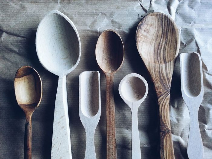 High Angle View Of Wooden Utensils