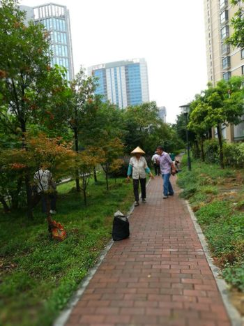 Architecture Building Exterior Full Length Walking Grass Two People Togetherness People Men Women Tree City Keqiao Shaoxing