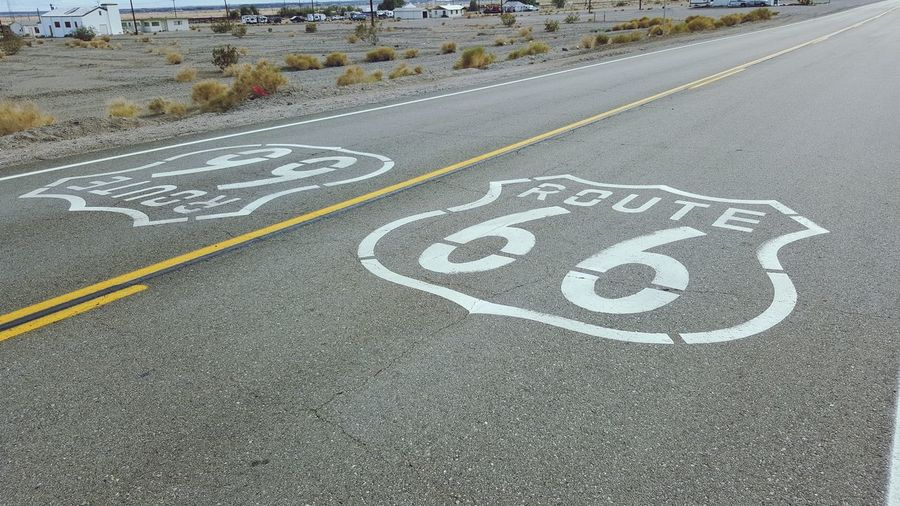 High angle view of route 66
