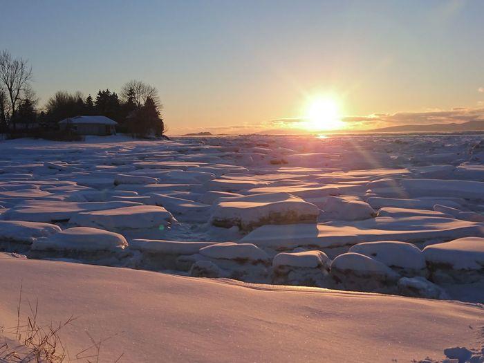 Sunset Water Nature Frozen Ice Cold Temperature Beauty In Nature Polar Climate Closeup Snow Winter Sun Beach Shore