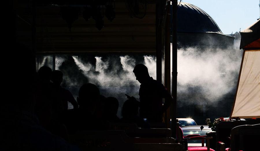 Smoke emitting from chimney
