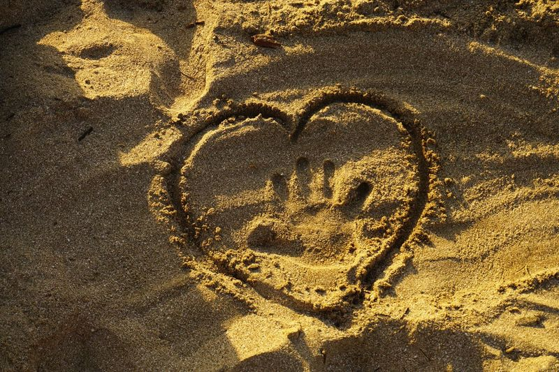 Heart Shape Love Outdoors Shadow Day No People Close-up beach