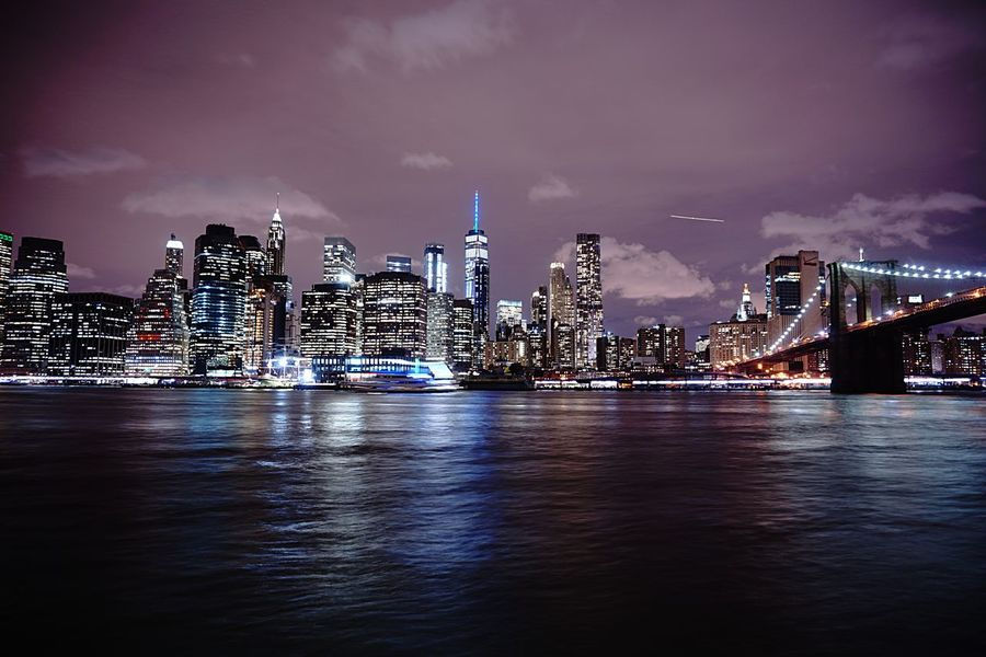 Big lights will inspire you #Reflexion #nightlights #EyeEmNewHere #newyorkcity #Skyline Sky Illuminated City Water Architecture Built Structure Night Cityscape Skyscraper EyeEmNewHere Adventures In The City