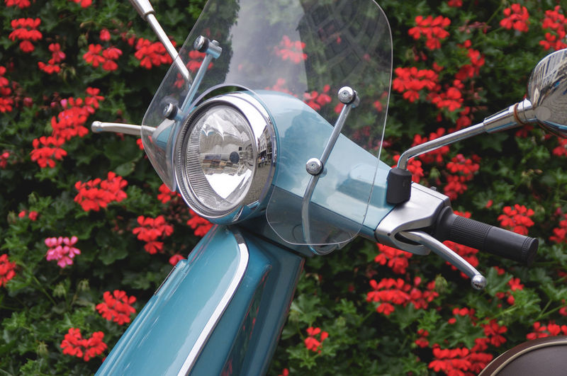 Close-up of italian scooter with flowers in the background