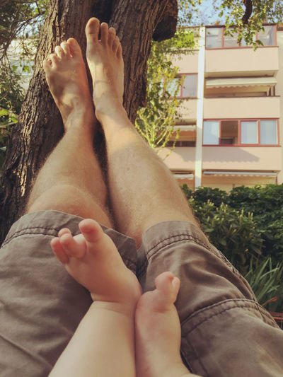 Holiday POV Father & Son Relaxing Babysitting Summertime