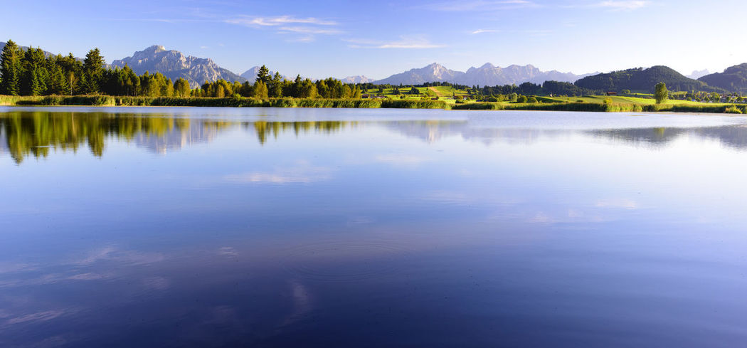 perfect and symmetrical reflection of mountain range in lake Forggensee in region Allgäu, Bavaria, nearby city Füssen Allgäu Bavaria Bavarian Landscape Calm Copy Space Nature Panorama Panoramic Reflection Rural Tranquility Bavarian Alps Blue Forggensee Lake Mountain Mountain Range No People Panoramic Landscape Reflections In The Water Scenery Scenics Tranquil Scene Water Wide Angle