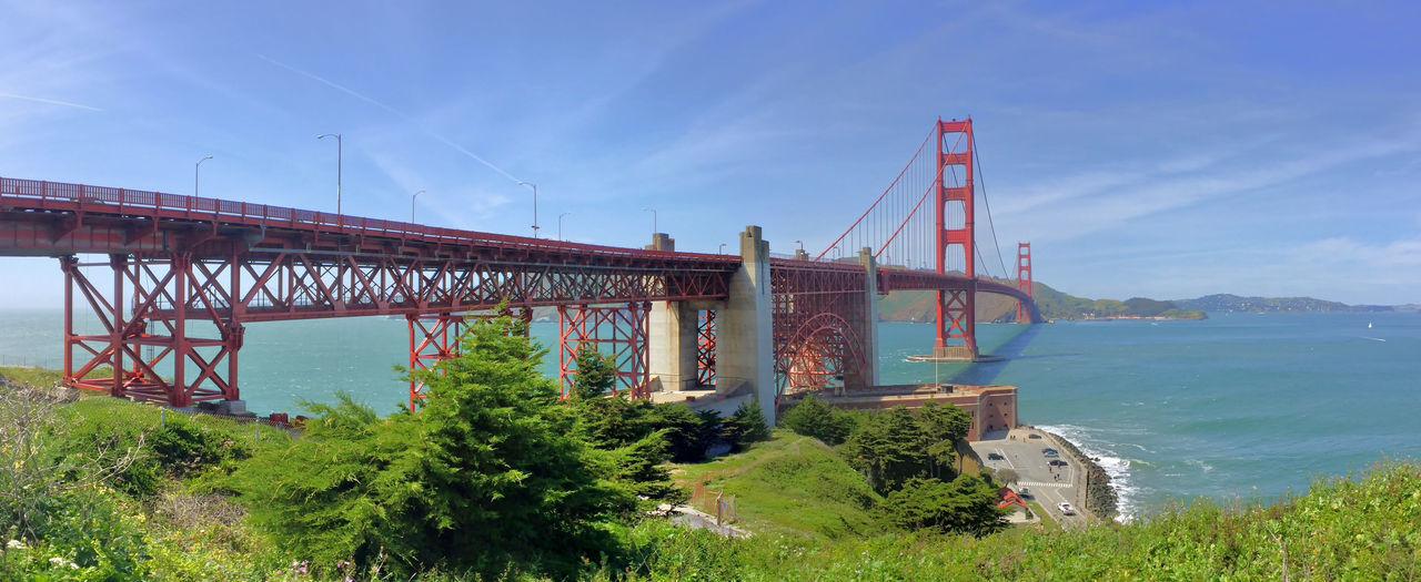 Suspension Bridge Against Blue Sky