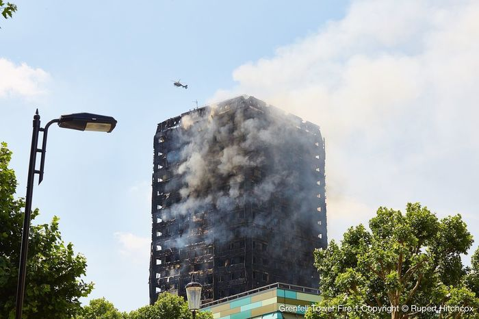 Grenfell Tower Fire in west London Grenfell Tower Architecture Building Exterior Community Fire Inferno Low Angle View Rupert Hitchcox, Tower Tragedy