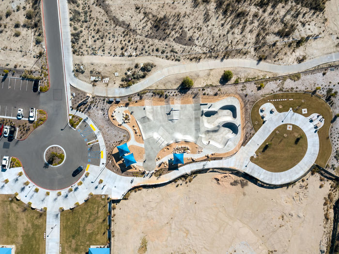 Lake Elsinore, CA / USA - 12/30/2018: An aerial view of the skate park at Summerly Community Park in Lake Elsinore High Angle View Day Nature Outdoors Neighborhood Construction Sky Suburban Development Development/construction Housing Development Shape Park Skate Park Skateboarding Sunlight Tourism