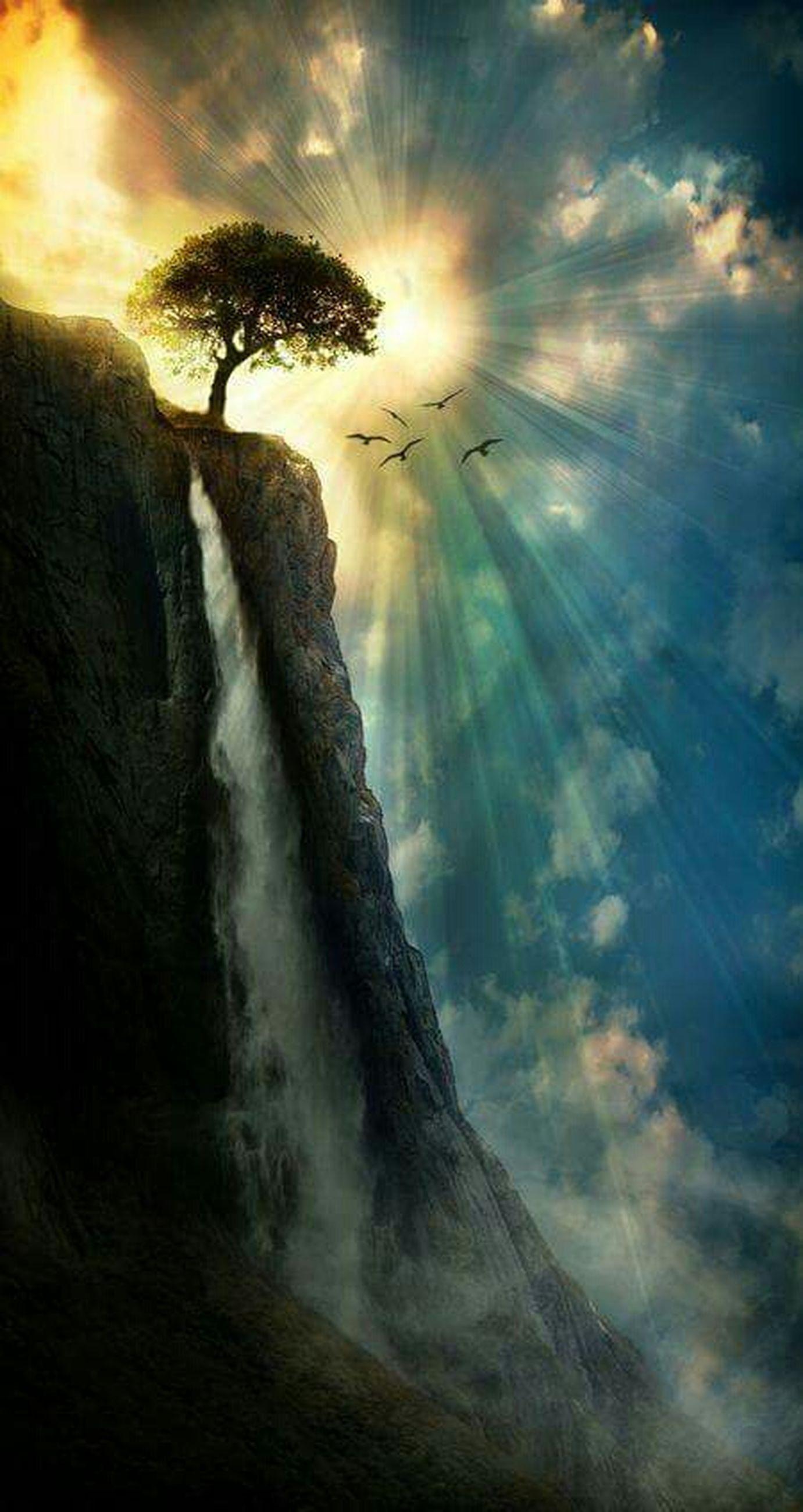 sky, water, tranquil scene, beauty in nature, tranquility, scenics, silhouette, sun, nature, cloud - sky, sunlight, sunbeam, sunset, sea, tree, idyllic, rock - object, non-urban scene, outdoors, cloud