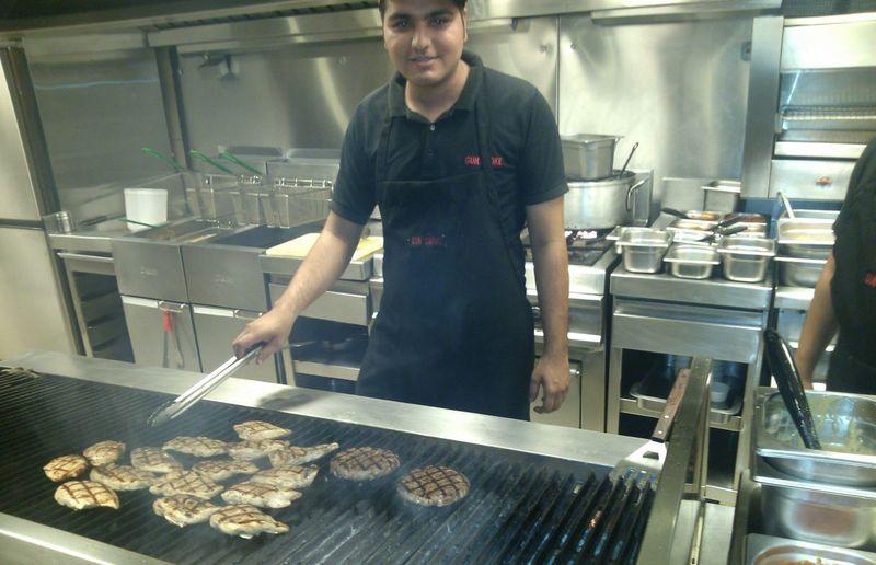 At job Eating Steak Meat Enjoying Life with money :-)