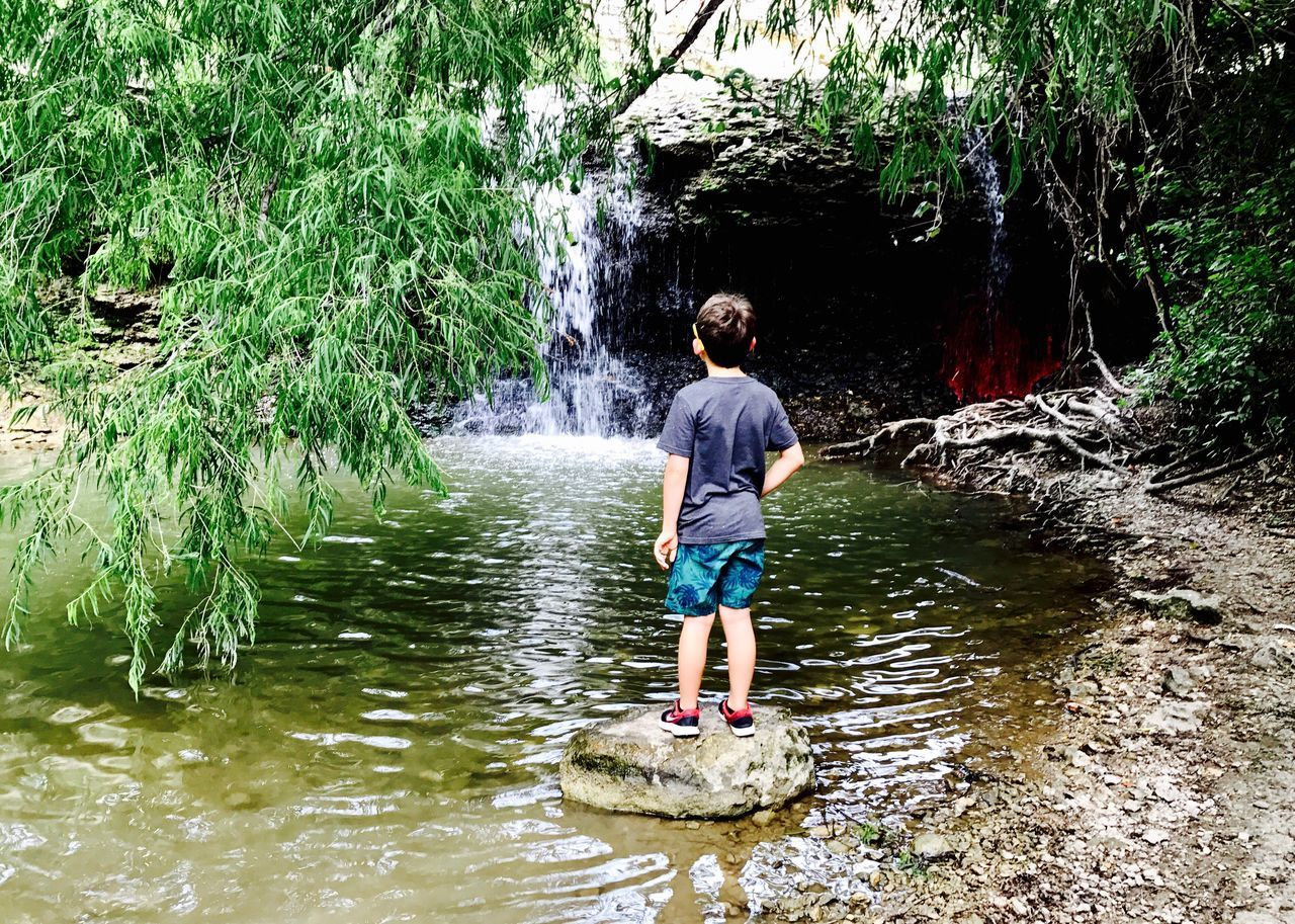 water, real people, rock - object, nature, day, one person, outdoors, leisure activity, river, beauty in nature, lifestyles, full length, tree, standing, vacations, ankle deep in water, young adult, people, adult