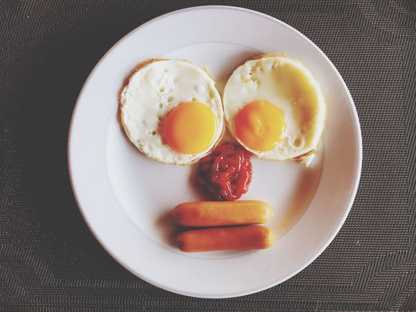 Curious Food And Drink Plate Food Egg Still Life Indoors  Breakfast Fried Egg Sunny Side Up High Angle View